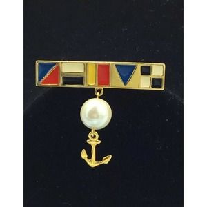 VTG MARVELLA Gold Tone Nautical Anchor Brooch Pin